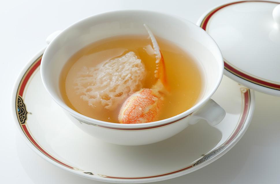中国料理 竹笙燉蟹拑 キヌガサダケと蟹爪の澄ましスープ